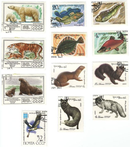 画像1: ソ連古切手パック(3)動物  (1)